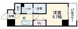名鉄瀬戸線 森下駅 徒歩4分の賃貸マンション 6階1Kの間取り