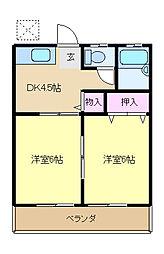 西武国分寺線 恋ヶ窪駅 徒歩13分の賃貸アパート 1階2DKの間取り