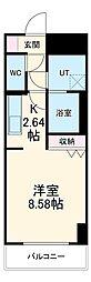 あさひグランレジデンシア高崎II 3階1Kの間取り