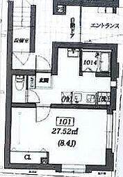 西武新宿線 沼袋駅 徒歩14分の賃貸マンション 1階1Kの間取り