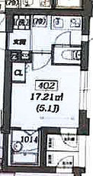 西武新宿線 沼袋駅 徒歩14分の賃貸マンション 4階1Kの間取り