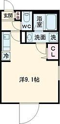 東急目黒線 奥沢駅 徒歩5分の賃貸マンション 3階ワンルームの間取り