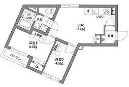 東急大井町線 大岡山駅 徒歩12分の賃貸マンション 2階2LDKの間取り