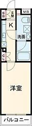 東急東横線 自由が丘駅 徒歩15分の賃貸マンション 1階1Kの間取り