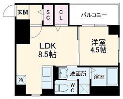 カーサ・フェリーチェ平尾 5階1LDKの間取り