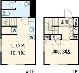PASEO SANGENJAYA−EAST 1階1LDKの間取り