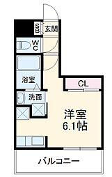 福岡市地下鉄空港線 大濠公園駅 徒歩5分の賃貸マンション 6階ワンルームの間取り