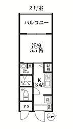 福岡市地下鉄七隈線 別府駅 徒歩18分の賃貸マンション 6階1Kの間取り
