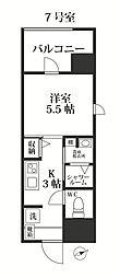 福岡市地下鉄七隈線 別府駅 徒歩18分の賃貸マンション 5階1Kの間取り