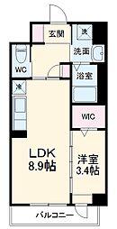 JR鹿児島本線 竹下駅 徒歩16分の賃貸マンション 2階1LDKの間取り