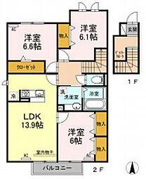 JR飯田線 船町駅 徒歩24分の賃貸アパート 2階3LDKの間取り