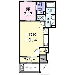京成本線 ユーカリが丘駅 徒歩8分の賃貸アパート 1階1LDKの間取り