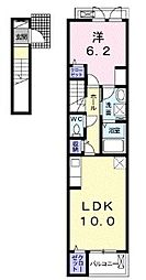 名鉄西尾線 南安城駅 徒歩16分の賃貸アパート 2階1LDKの間取り