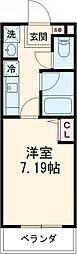 Studio 新町 2階1Kの間取り