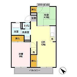 JR高崎線 北本駅 徒歩14分の賃貸アパート 2階2LDKの間取り
