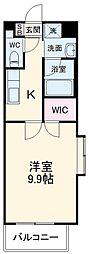 名古屋市営東山線 一社駅 徒歩3分の賃貸マンション 3階1Kの間取り