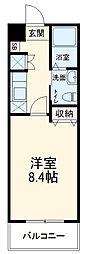 京王線 千歳烏山駅 徒歩9分の賃貸マンション 4階1Kの間取り