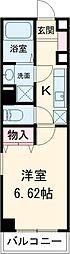 京王線 千歳烏山駅 徒歩6分の賃貸マンション 2階1Kの間取り