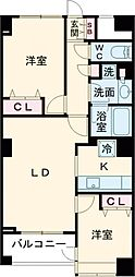 JR山手線 大塚駅 徒歩10分の賃貸マンション 2階2LDKの間取り