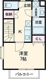 JR中央線 国分寺駅 徒歩9分の賃貸アパート 2階1Kの間取り