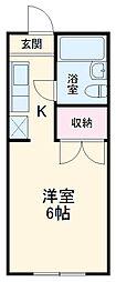 京王線 高幡不動駅 徒歩11分の賃貸アパート 2階ワンルームの間取り