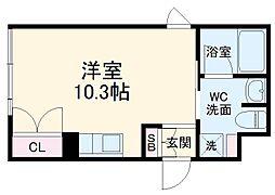 名古屋市営鶴舞線 浅間町駅 徒歩12分の賃貸マンション 4階ワンルームの間取り