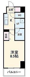 名鉄名古屋本線 名鉄名古屋駅 徒歩12分の賃貸マンション 2階1Kの間取り