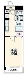 名鉄犬山線 西春駅 徒歩4分の賃貸マンション 2階1Kの間取り