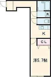 京王線 聖蹟桜ヶ丘駅 徒歩13分の賃貸アパート 2階1Kの間取り