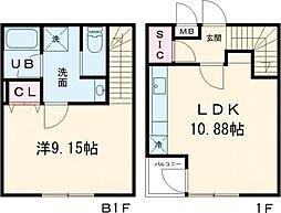 東急世田谷線 下高井戸駅 徒歩9分の賃貸マンション 1階1LDKの間取り
