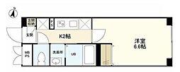 京王線 明大前駅 徒歩4分の賃貸マンション 2階1Kの間取り