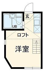JR横須賀線 衣笠駅 徒歩12分の賃貸アパート 2階ワンルームの間取り
