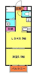エスポワール 1階1LDKの間取り