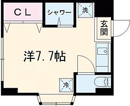 京王線 武蔵野台駅 徒歩8分の賃貸マンション 2階ワンルームの間取り