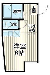 JR横須賀線 田浦駅 徒歩1分の賃貸アパート 2階ワンルームの間取り