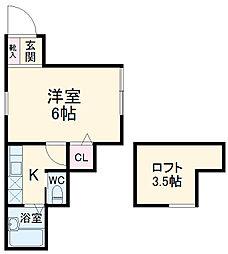 ロフトステージ壱番館 2階ワンルームの間取り