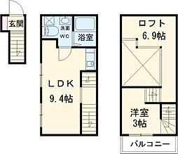 近鉄名古屋線 米野駅 徒歩5分の賃貸アパート 2階1LDKの間取り