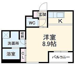 名古屋市営東山線 本陣駅 徒歩10分の賃貸マンション 1階1Kの間取り