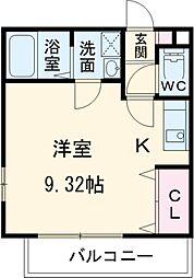 東葉高速鉄道 村上駅 徒歩8分の賃貸アパート 2階ワンルームの間取り