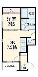 名古屋市営東山線 本陣駅 徒歩8分の賃貸アパート 3階1DKの間取り