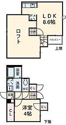 西鉄貝塚線 名島駅 徒歩3分の賃貸アパート 2階1LDKの間取り