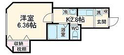 ベラピューマ実籾 2階ワンルームの間取り