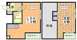 京都地下鉄東西線 太秦天神川駅 徒歩6分の賃貸マンション 3階1LDKの間取り