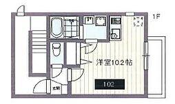 都営大江戸線 新江古田駅 徒歩11分の賃貸マンション 1階ワンルームの間取り