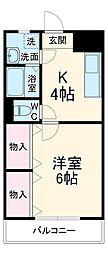JR両毛線 前橋大島駅 徒歩16分の賃貸マンション 3階1Kの間取り
