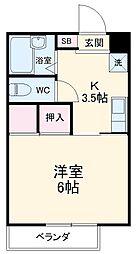 コーポ東日本I 2階1Kの間取り