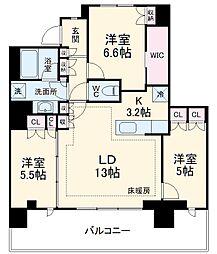 小田急小田原線 海老名駅 徒歩3分の賃貸マンション 28階3LDKの間取り