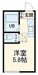 JR東海道本線 戸塚駅 徒歩13分の賃貸アパート 1階ワンルームの間取り