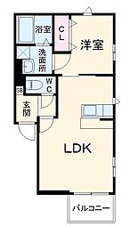 JR鹿児島本線 竹下駅 徒歩13分の賃貸アパート 2階1LDKの間取り