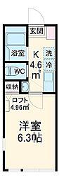 横浜市営地下鉄ブルーライン 蒔田駅 徒歩8分の賃貸アパート 1階1Kの間取り